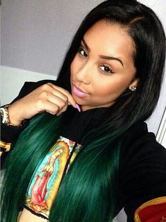 Ombre Black Green Hair Lightie Black Beauty Pretty Girl Style