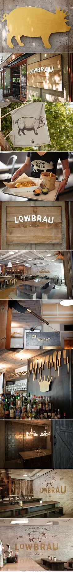 Lowbrau. Not a lowbrow restaurant. #interior #design (More design inspiration at www.aldenchong.com)