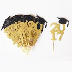 Glitter 2017 Graduation Cupcake Toppers, Graduation Cupcake Topper | Home & Garden, Greeting Cards & Party Supply, Party Supplies | eBay!