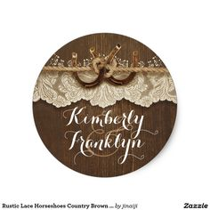 Rustic Lace Horseshoes Country Brown Wedding Classic Round Sticker rustic country horseshoes couple wood and lace wedding stickers ❤ Affiliate ad link. Customize these invitations / cards / products for your weddings. Mason Jar Wedding Favors, Rustic Wedding Gifts, Rustic Mason Jars, Country Wedding Invitations, Wedding Stickers, Wedding Matches, Wedding In The Woods, Lace Weddings, Round Stickers
