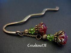 Handmade Beaded Metal Bookmark Handmade Red Flower by creations138, $13.99
