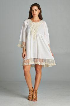 LuLu AZ by Velzera White Cotton Boho Dress w/ Crochet NWT Size M/L - 130 NGS 315