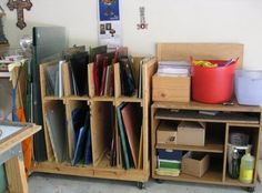 Custom shelving for glass * open top for light, over size pieces or smaller scraps
