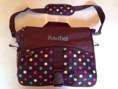 Pottery Barn Teen Messenger Laptop bag backpack Polka Dots  Rachel monogrammed…