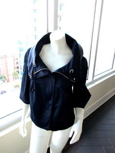 Millard Fillmore Jacket Drawstring Collar Front Zip NWOT MF-13 Navy  #MillardFillmore #Everyday