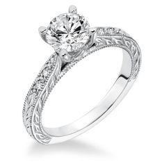 14K White Gold Engraved Diamond Engagement Ring