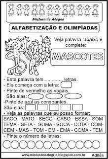 Atividades sobre olimpíadas 2016 e alfabetização                                                                                                                                                      Mais