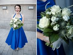 A Bride in a 1950s style blue wedding dress, image by Viva Wedding Photography