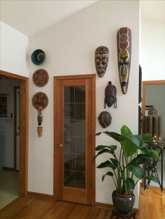 Clearly I have a thing for #africanMasks & masks from #bali woven mats from #Nigeria . Love plants which together with my collected art feel #bohemian