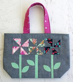 Windflowers Tote PDF Pattern - Tied with A Ribbon
