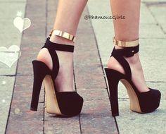 Instagram photo - @Charlene Phan Girls   Love love these shoes. Gold cuff heels ❤