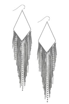 CRYSTAL ACCENT CHAIN FRINGE EARRINGS