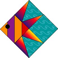Fish. Each block sep by a different solid color. Each row swimming in a different direction.