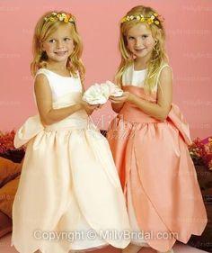 Scoop Ball Gown Floor Length Sash Champagne Satin Flower Girl Dress at Millybridal.com