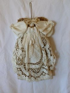 Angel Doll Burlap Vintage Bobbin Lace Irish by LilyAnnsAttic