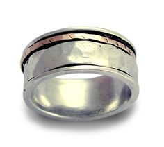 Sterling silver combined 9K rose gold unisex ring  by artisanlook, $160.00