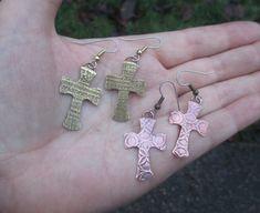 Copper or Brass Cross Earrings