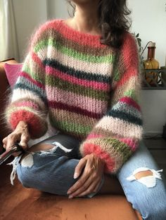 Bohemian style striped mohair sweater Coral | Etsy Knitwear Fashion, How To Purl Knit, Mohair Sweater, Sweater Making, Unique Outfits, Ribbon Yarn, Cozy Sweaters, Knit Crochet, Jumper