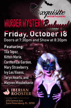 Halloween-themed flyer for burlesque troupe Service Awards, Halloween Themes, Burlesque, Graphic Design, Creative, Visual Communication