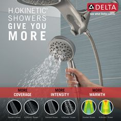 HydroRain® H2Okinetic® 5-Setting Two-in-One Shower Head 58680-SS | Delta Faucet Large Shower Heads, Dual Shower Heads, Shower Arm, Hand Held Shower, Shower Together, Delta Faucets, Wipe Away, Wall Bar, Water Conservation