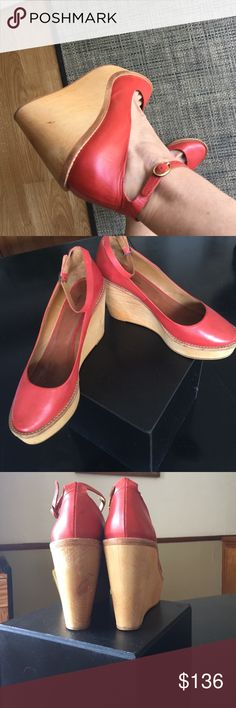 ISABEL MARANT, Platform wooden wedges, ankle strap Super cute platforms by Isabel Marant! Wood & smooth red leather. Excellent Condition!!! Worn just a handful of times. 39=8.5 Isabel Marant Shoes Platforms