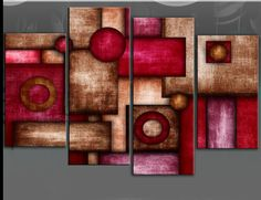 red brown abstract circles wall art - Google Search