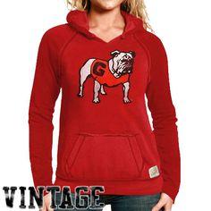 Original Retro Brand Georgia Bulldogs Women's Two-Toned V-Neck Hooded Sweatshirt - Red - $39.99