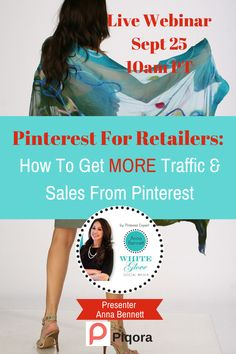 Pinterest For Retailers! Learn how to develop a Pinterest marketing strategy that gets results. Join Pinterest Expert Anna Bennett and Piqora for a live webinar to learn how to increase traffic and sales from your Pinterest marketing efforts. CLICK HERE TO REGISTER http://go.piqora.com/pinterest-for-retailers.html?LS=Pinterest #PiqoraWebinar