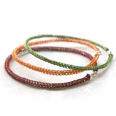 Color Bangles Trio - wire crochet jewelry , handmade funky bangles ,Marsala , fall colors