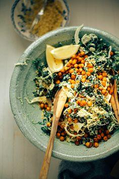 "kale + brussels sprout caesar slaw w/ pine nut ""parm"""