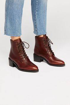 Zephyr Lace-Up Boot - Zephyr Lace-Up Boot – Cognac Brown Lace Up Heeled Boots with Pointed Toe Source by nazaninshahabza - Lace Up Ankle Boots, High Heel Boots, Heeled Boots, Bootie Boots, Shoe Boots, Grunge Style, Soft Grunge, Galaxy Converse, Grunge Outfits