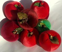 Velvet Fruit! Vintage Apple Pear Velvet Stuffed Green Pin Cushion ...