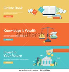 Flat design vector illustration concepts for online book, online library, online book store, finance, education credits, education savings. Concepts for web banners and promotional materials.