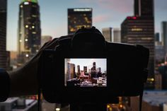 Skyline Photography.  Find a Good Vantage Point Outside the City.  Focus on the Corner of a Building.  Blue hour.  Wide angle.  F/11-16 for a deeper depth of field. Panorama (overlap edges).  Use Your Self-Timer and Bracket at Night (3 or 5 exposures using the 2-second timer and DSLR exposure bracketing features.)
