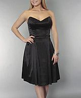 Satin sweetheart bustier flare dress