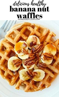 Delicious and healthy Banana Nut Waffles that are crisp on the outside and fluffy on the inside! Bananas and pecans are BFFs in this recipe and make this breakfast extra special! #breakfast #healthybreakfast #waffles #bananawaffles Banana Waffles, Banana Nut, Pancakes And Waffles, Waffle Recipes, Brunch Recipes, Breakfast Recipes, Healthy Waffles, Breakfast Specials