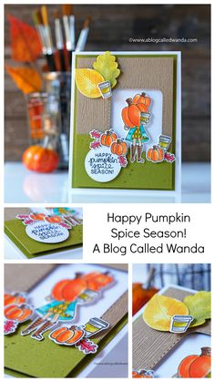Fun coffee and Autumn themed card with stamping, die cutting and water coloring! Ink Water, Happy September, Happy Pumpkin, Tiny Cats, Pumpkin Spice Coffee, Pretty Pink Posh, Autumn Cards, Coffee Cards, Distress Ink