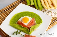 Sunny Side Up Spinach Crepes are a quick and delicious way to start the day. Check out our quick recipe and get your cooking on. Quick Recipes, Quick Meals, Prosciutto, Oven Baked, Crepes, Avocado Toast, Lasagna, Spinach, Salad Design
