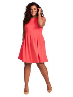Release Pleat Fit And Flare Dress In Strawberry