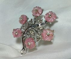 Vintage Estate Silver Pink Lucite Floral Frosted Flower Rhinestone Brooch Pin #Unbranded
