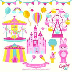 Amusement park digital clip art featuring ferris wheel, carousel, bunny mascot, castle and many more. #clipart #vector #design See more at creamyink.etsy.com