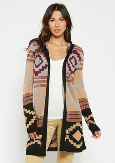 0bf715a34065a alloy - Patterned Hooded Open Cardigan Open Cardigan