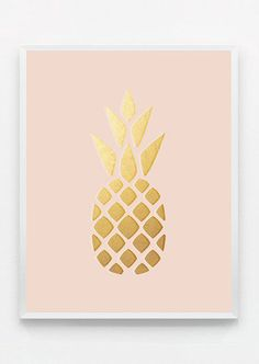 Blush Pink and Gold Pineapple Print Gold Pineapple
