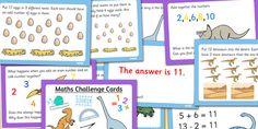 Dinosaur Themed KS1 Maths Challenge Cards - maths, challenges
