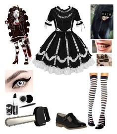 """Laughing Jill inspired costume (Halloween style #10)"" by katlanacross ❤ liked on Polyvore featuring Office, Fiskars, Mary Kay and Halloween"
