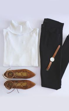 Ideal outfit if I ever decided to wear something other than a plain tee & my northface jacket lol | white turtle neck sweater & black skinnies & chestnut colored accessories
