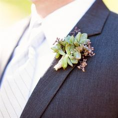Boutonnieres, earth tones, green, succulents for casual outdoor wedding.