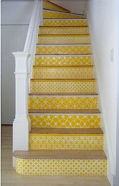 Patterned Yellow Stairs - ? make a false back to the basement stair with fiberboard & scrapbook paper? or paint/stencil