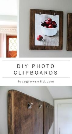 DIY Photo Clipboards; great for displaying kids artwork, shopping lists, wedding announcements!