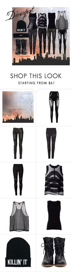 """""""Divergent"""" by bkelm ❤ liked on Polyvore featuring McQ by Alexander McQueen, Balmain, AllSaints, Givenchy, Maurie & Eve, rag & bone, Nicholas and NIKE"""